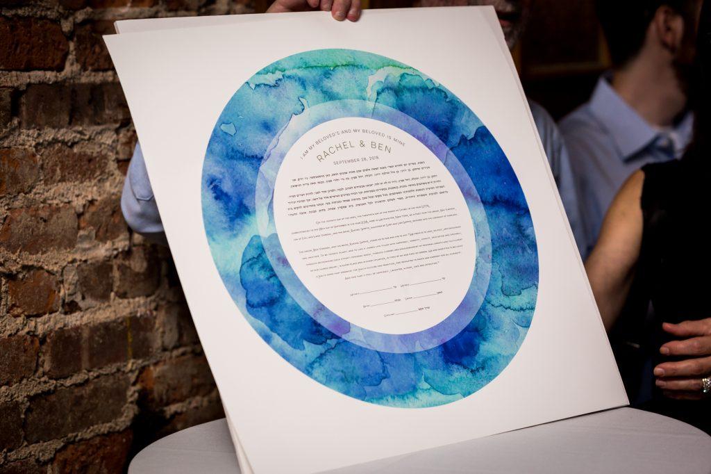 Colorful circular ketubah before ketubah signing