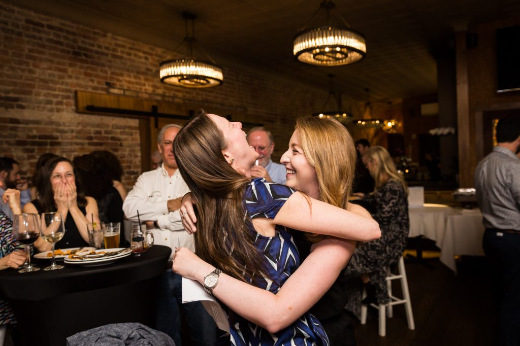 Toasts at a New Rochelle ketubah signing and rehearsal dinner