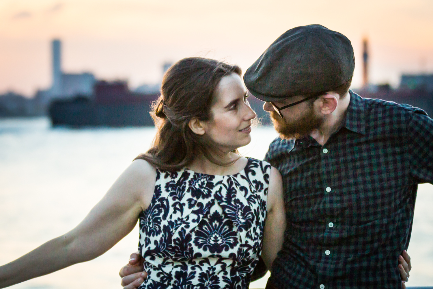 Couple standing in front of Hudson River