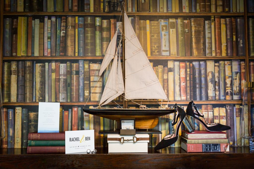 Sailboat, shoes, and accessories at a Larchmont Shore Club wedding