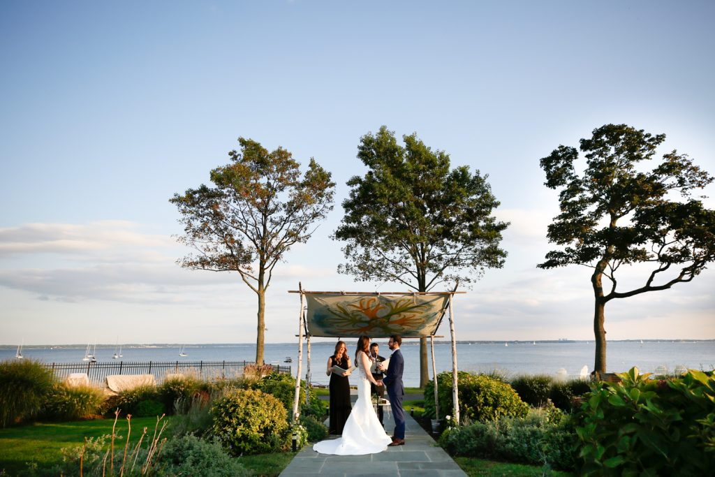 Wedding ceremony at a Larchmont Shore Club wedding