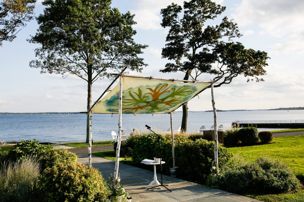 Hand-painted chuppah at a Larchmont Shore Club wedding