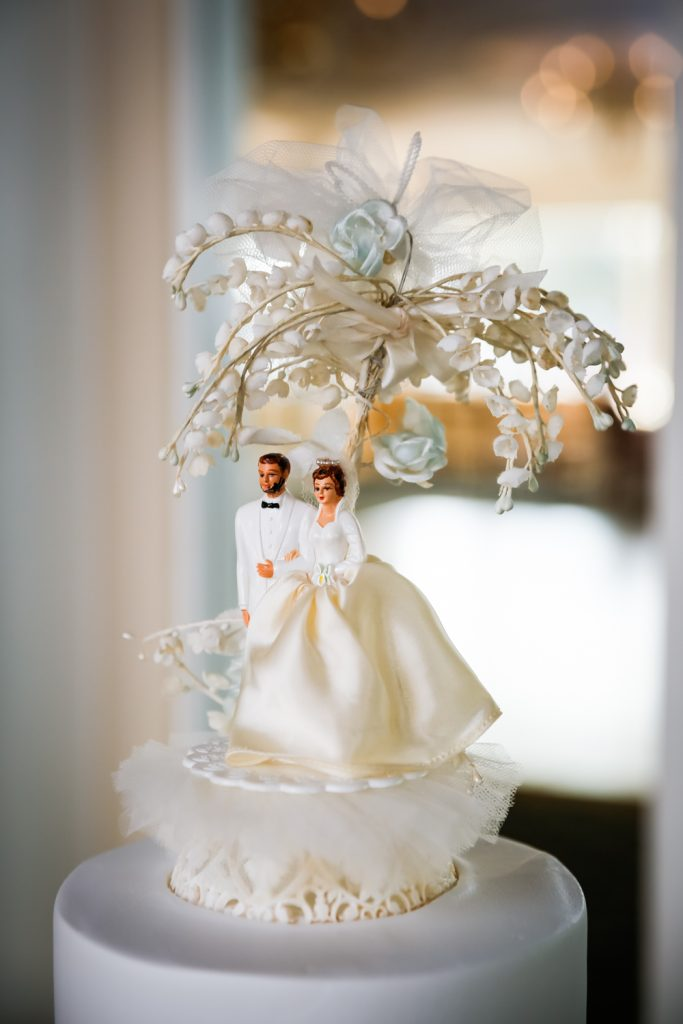 Vintage cake topper at a Larchmont Shore Club wedding