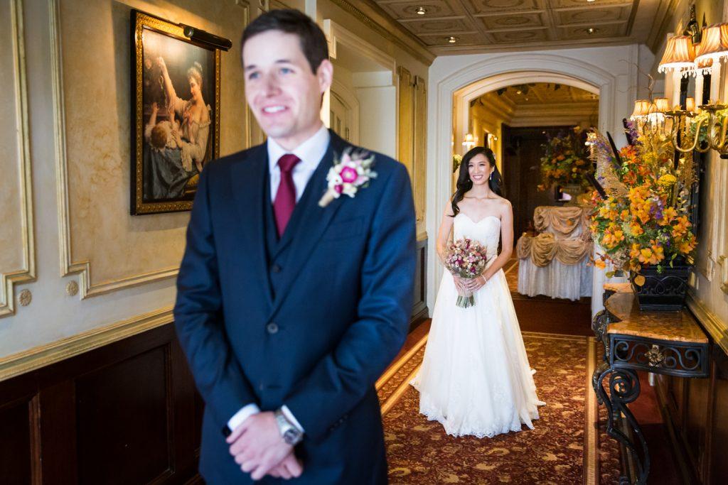 Bride before groom before first look begins