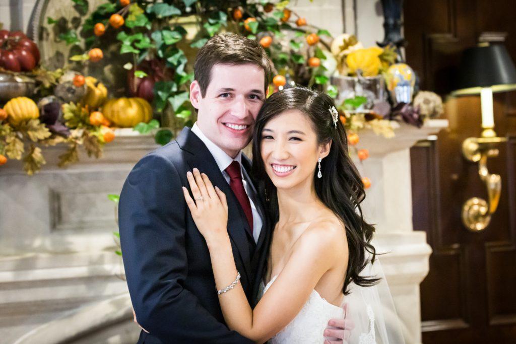 Portrait of bride and groom at a Westbury Manor wedding