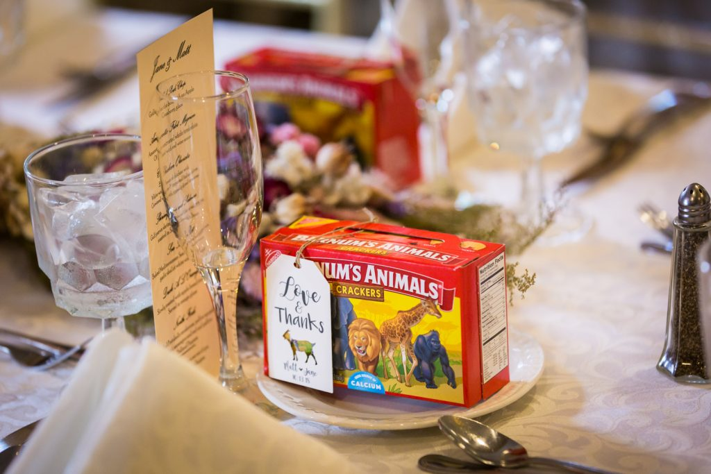 Place setting with box of animal crackers at a Westbury Manor wedding