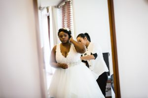 Bride getting ready for an article on destination wedding planning tips