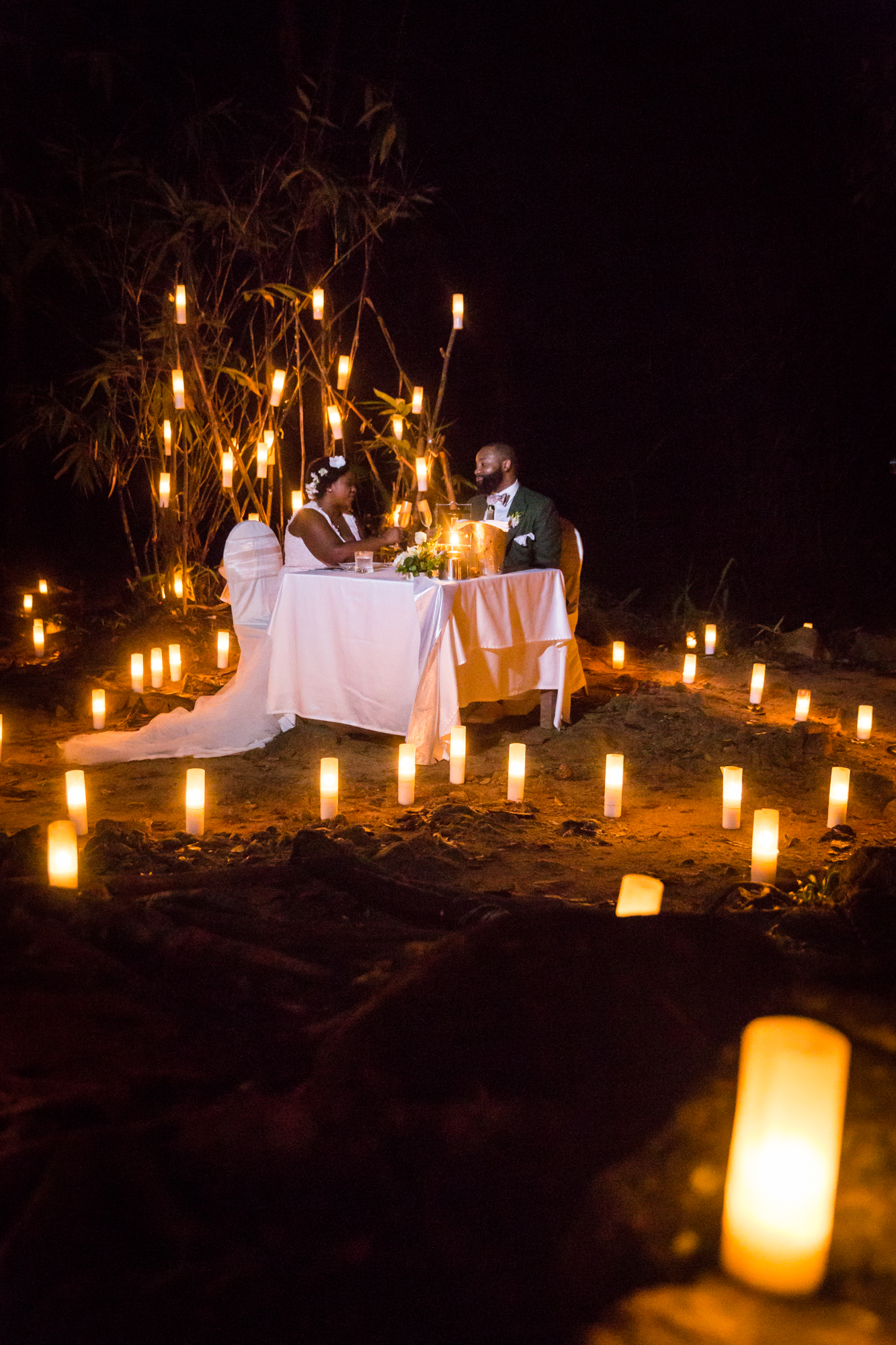 Bride and groom dining by candlelight for an article on destination wedding planning tips
