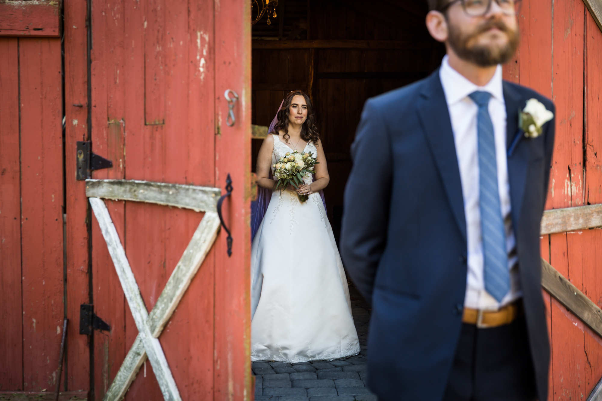 Bride and groom first look for an article on band vs DJ