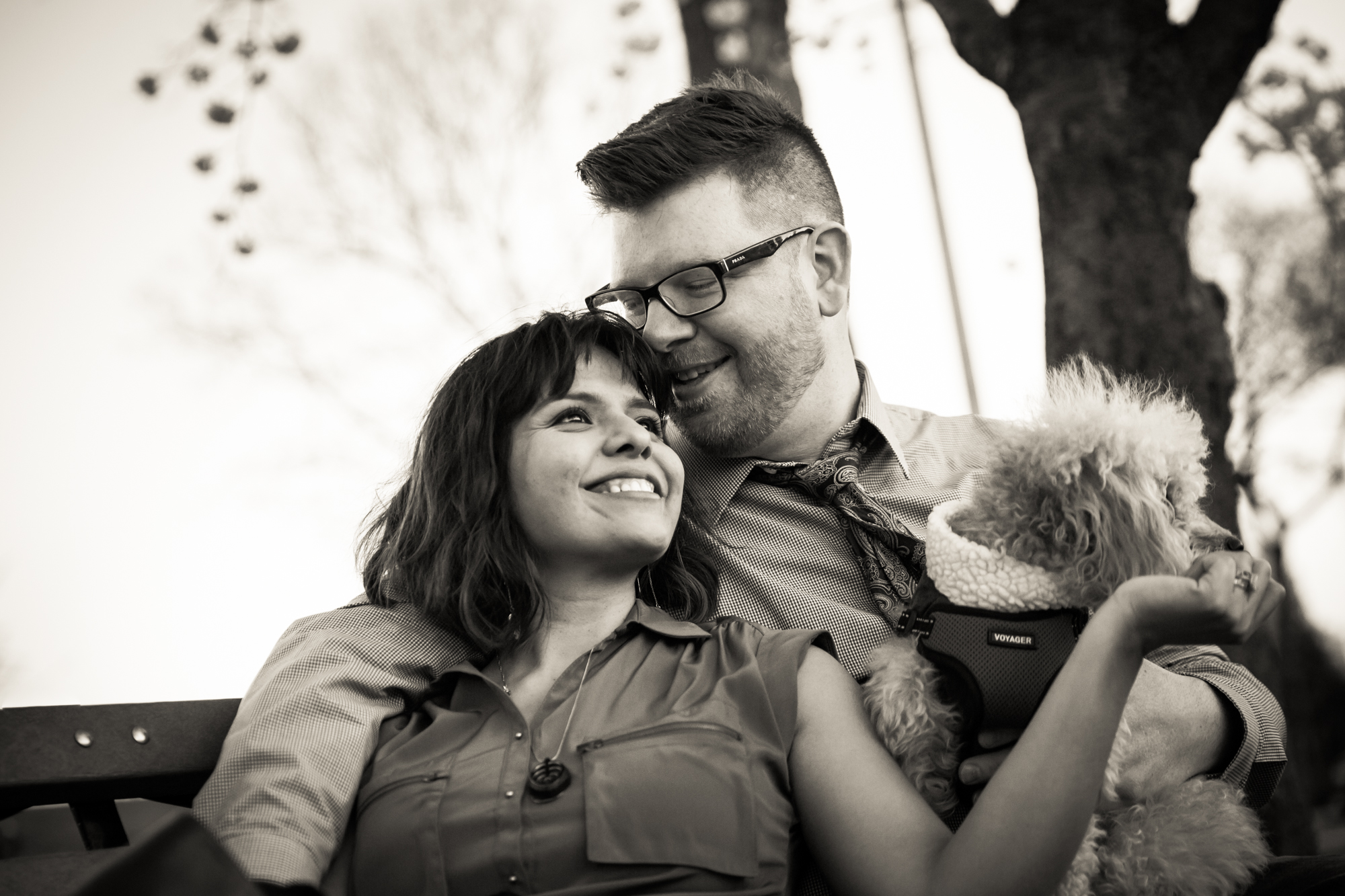Portrait of engaged couple on park bench for article on cherry blossom photo tips