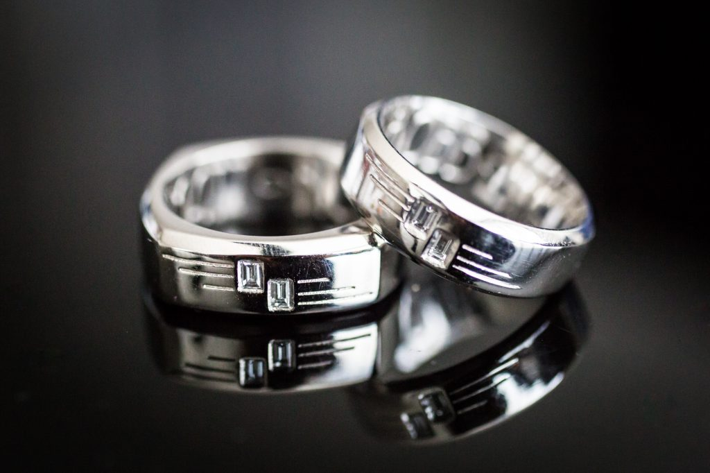 Platinum wedding rings at a same sex wedding celebration in Washington DC