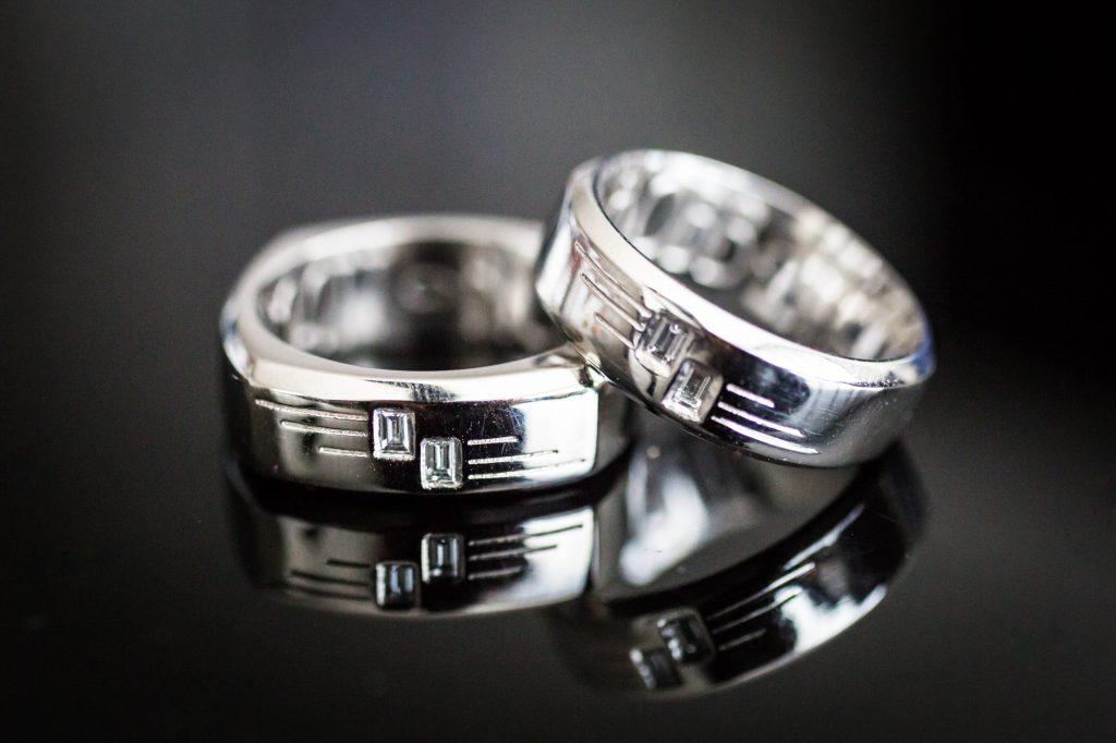Platinum wedding rings at a same sex wedding celebration in Washington DC