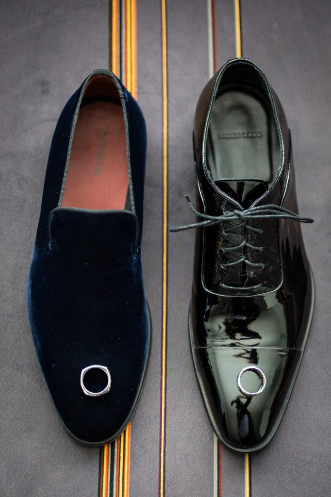 Men's shoes at a same sex wedding celebration in Washington DC