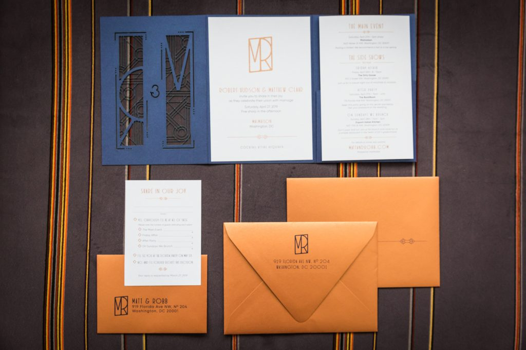 Invitations at a same sex wedding celebration in Washington DC