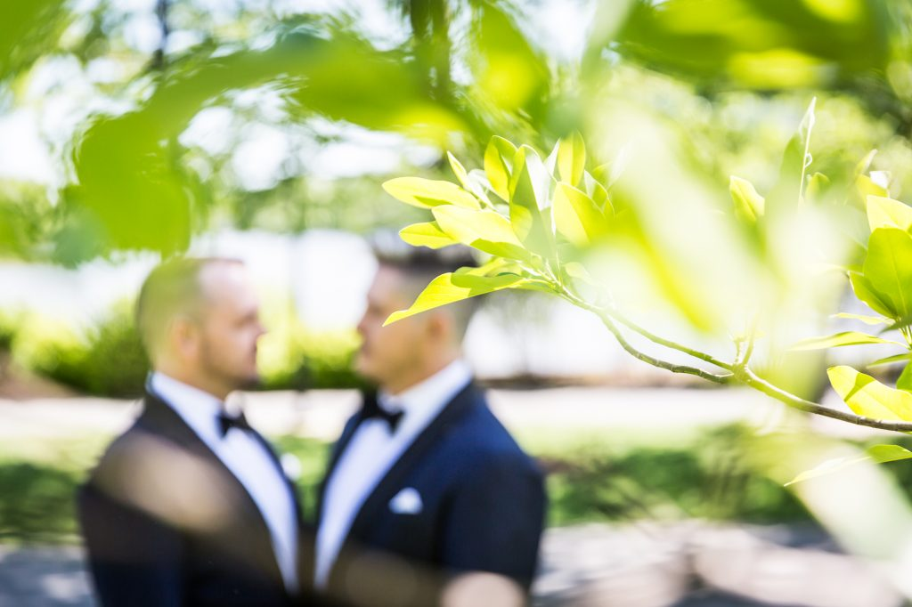 Portrait of groom and groom for a same sex wedding celebration in Washington DC