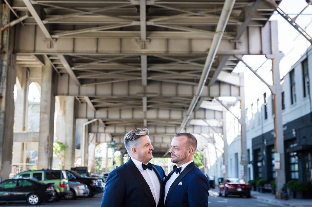 Portrait of groom and groom for a same sex wedding celebration in Washington DC