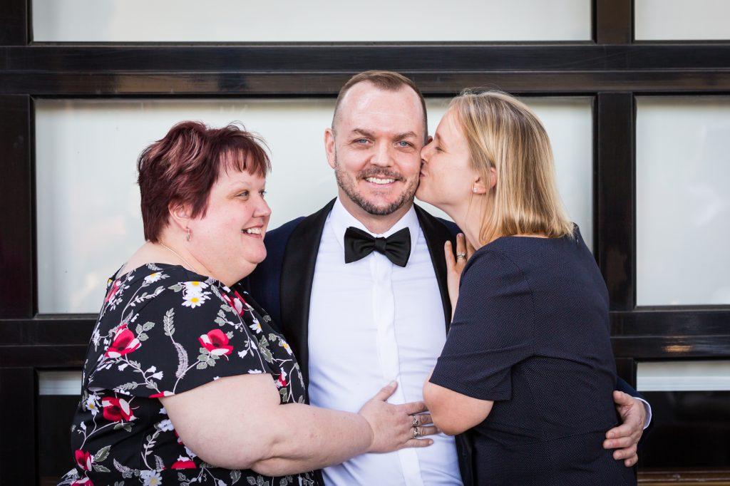 Family portraits at a same sex wedding celebration in Washington DC