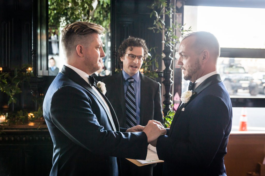 Vow exchange at a same sex wedding celebration in Washington DC