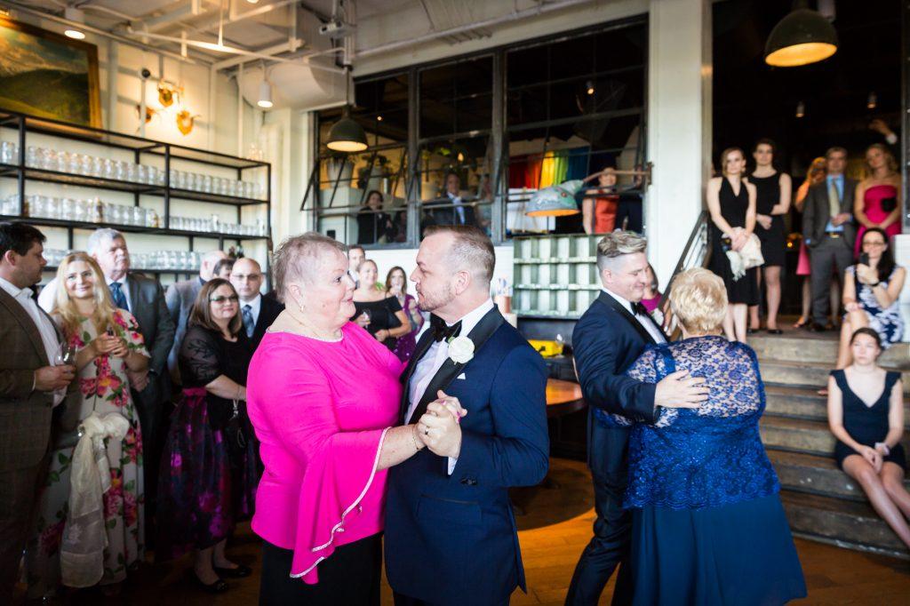 Mother-son dance at a same sex wedding celebration in Washington DC