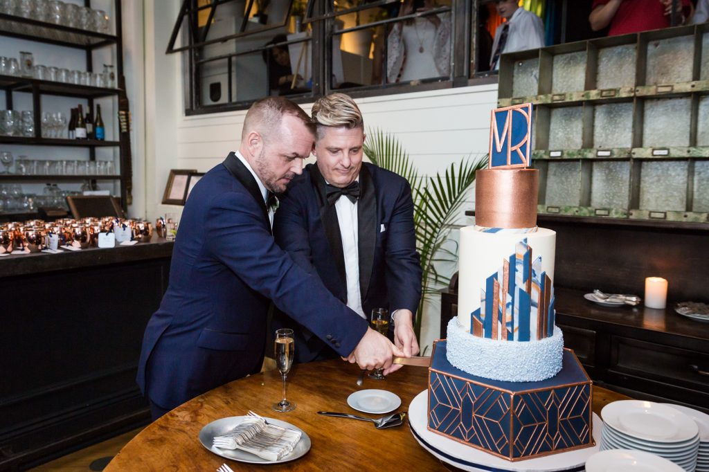 Cake cutting at a same sex wedding celebration in Washington DC