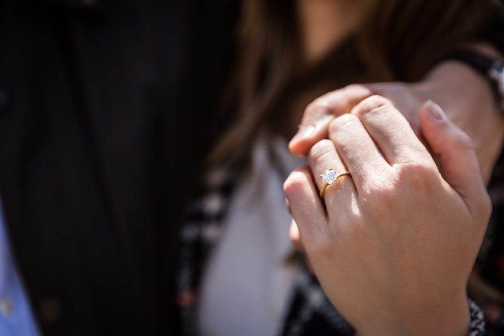 Close up on woman's hand with engagement ring