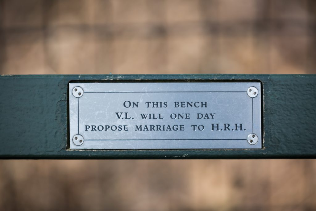 Close up on Central Park bench sign