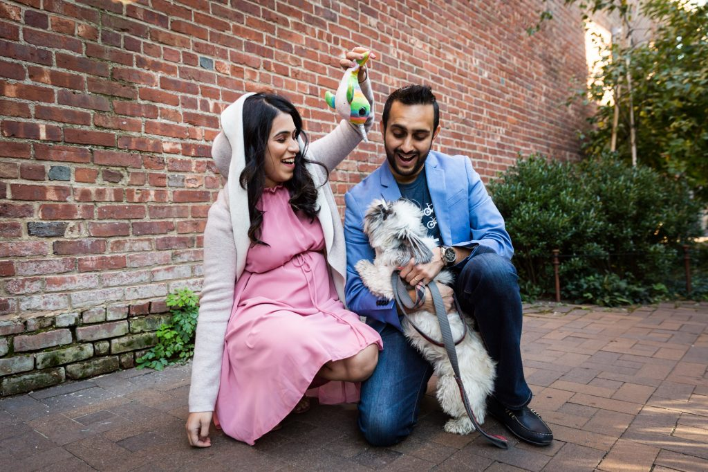 Portrait of a mother-to-be, husband, and dog for an article on maternity portrait tips