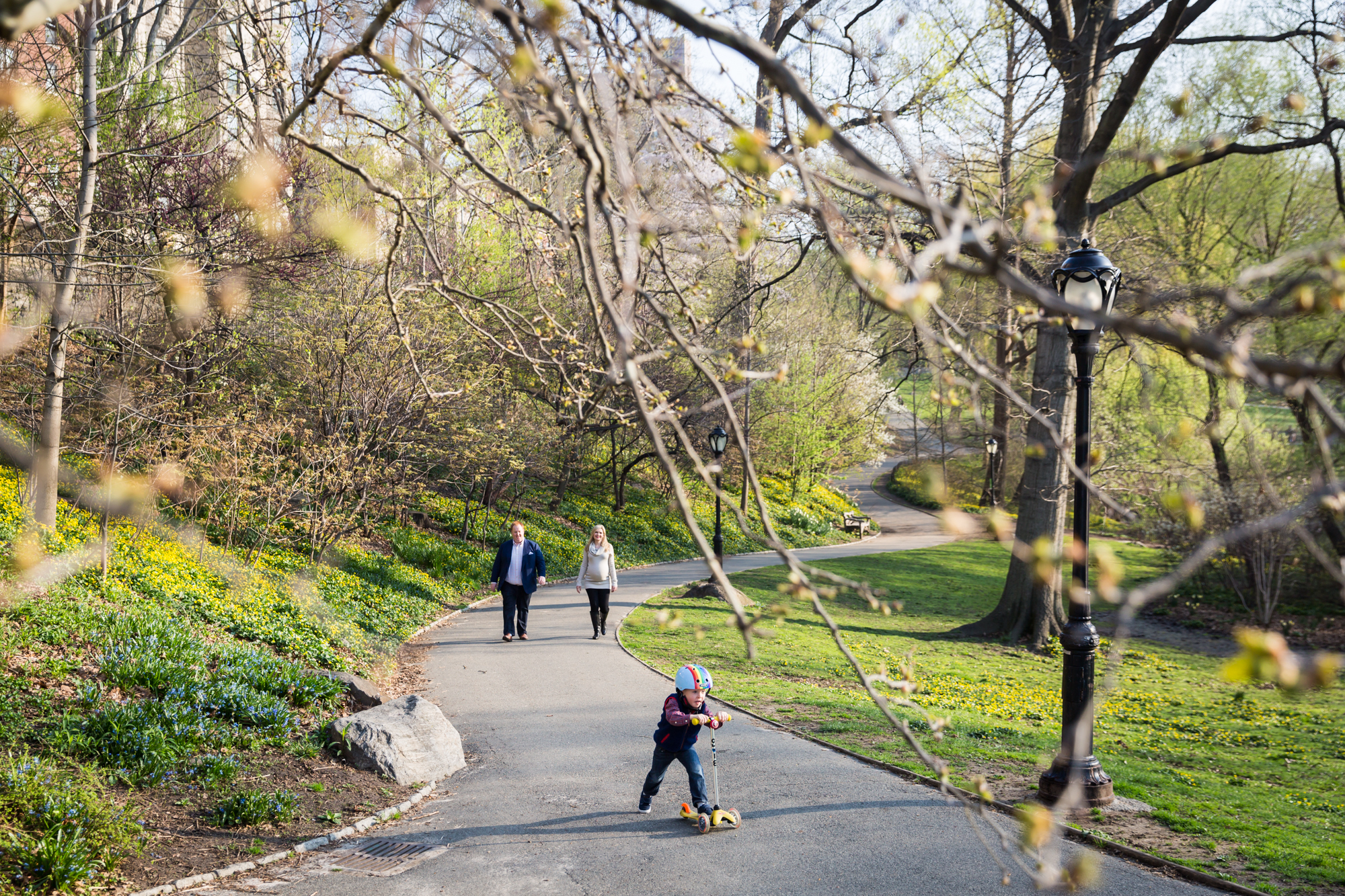 Family walking down pathway in Central Park for an article on the best family portrait poses