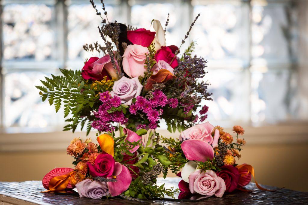 Bride's colorful bouquet and smaller bouquets