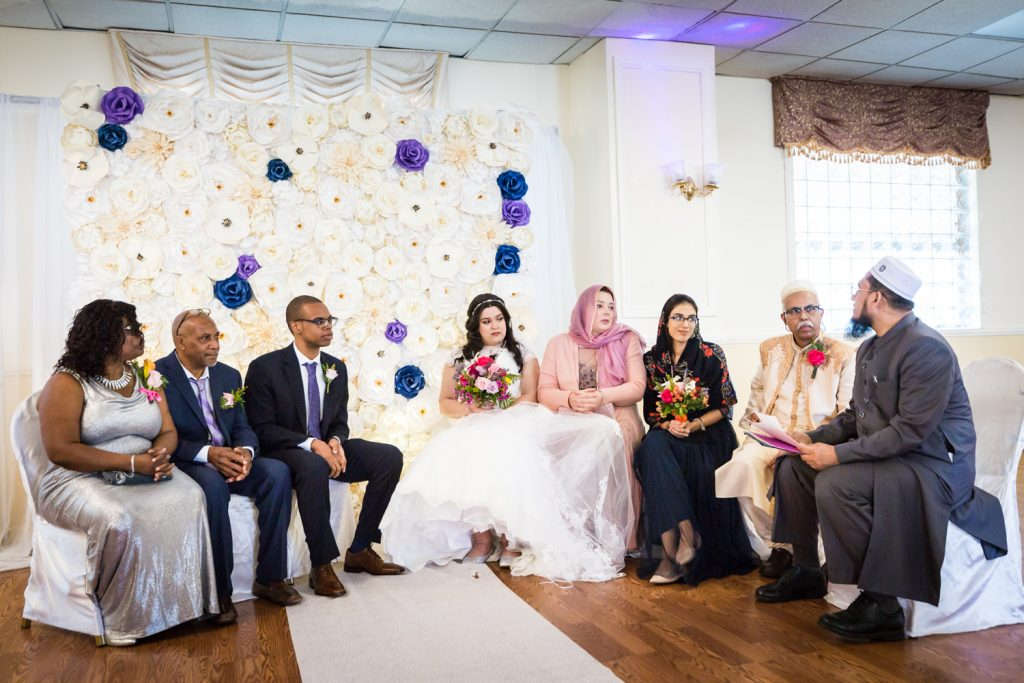 Bridal party during Muslim wedding ceremony for an article on wedding photography timeline tips