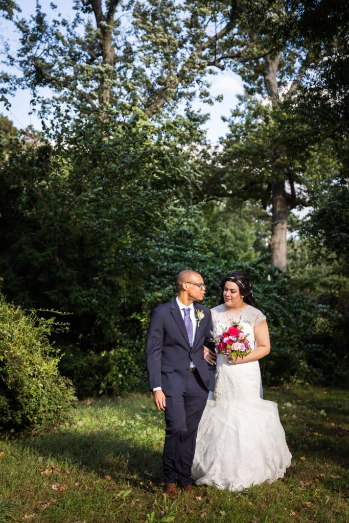 Bride and groom in park for an article on wedding photography timeline tips