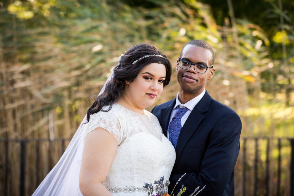 Portrait of bride and groom in Jamaica, Queens park
