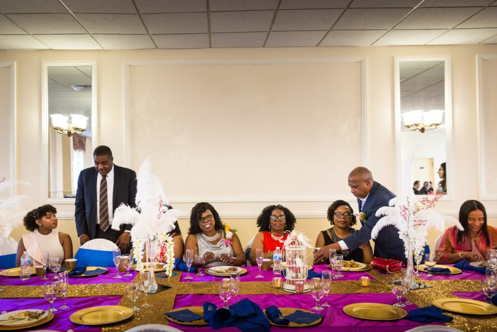 Wedding guests at a table
