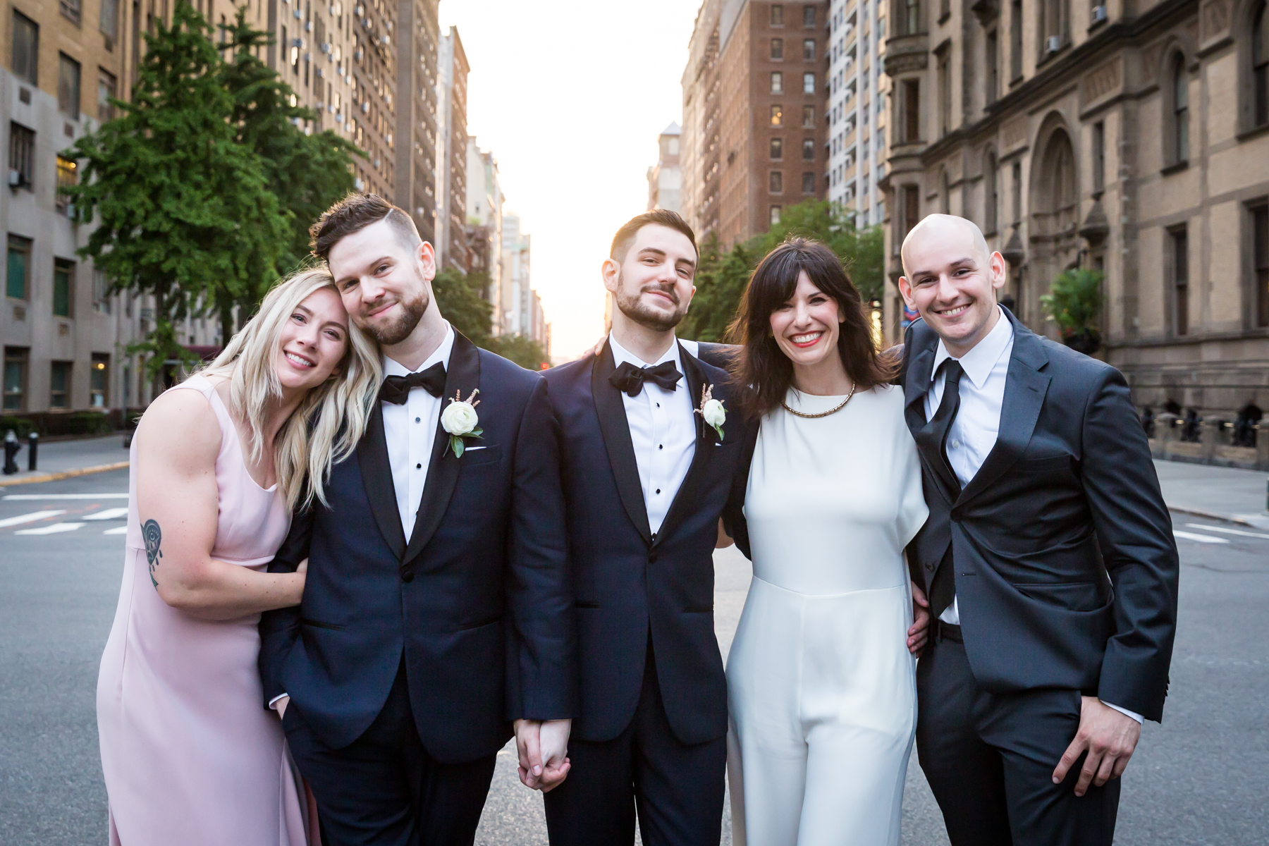 Wedding party on 72nd Street for an article entitled, 'Do you need a permit to get married in Central Park?'