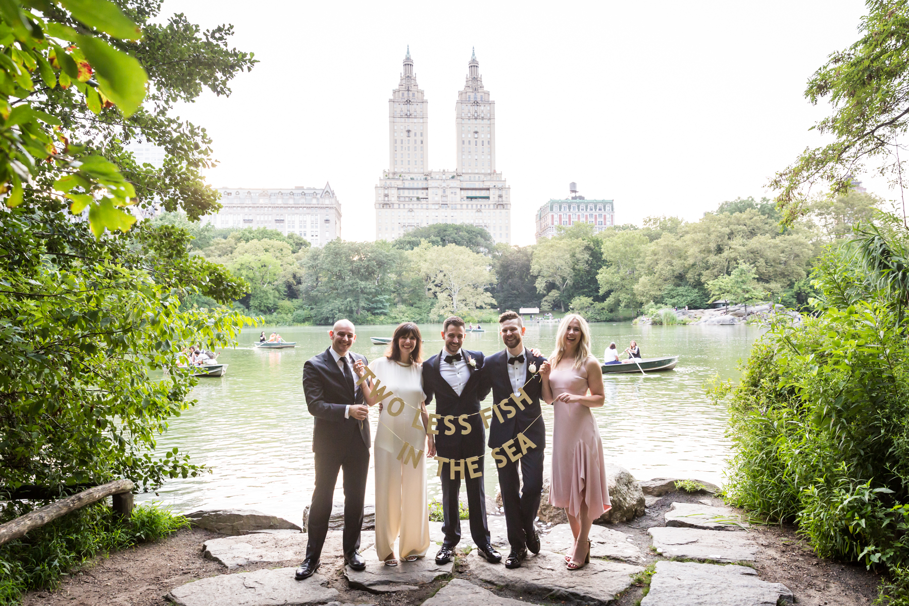 Wedding party portrait for an article entitled, 'Do you need a permit to get married in Central Park?'