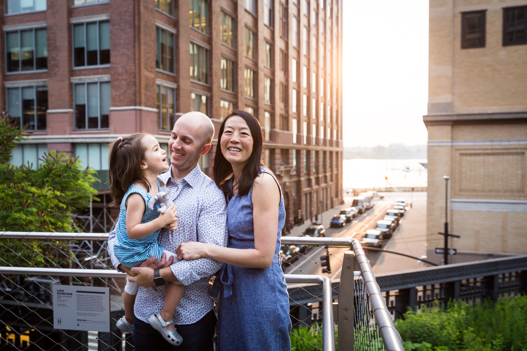 Family portrait on the High Line for an article on High Line family portrait tips
