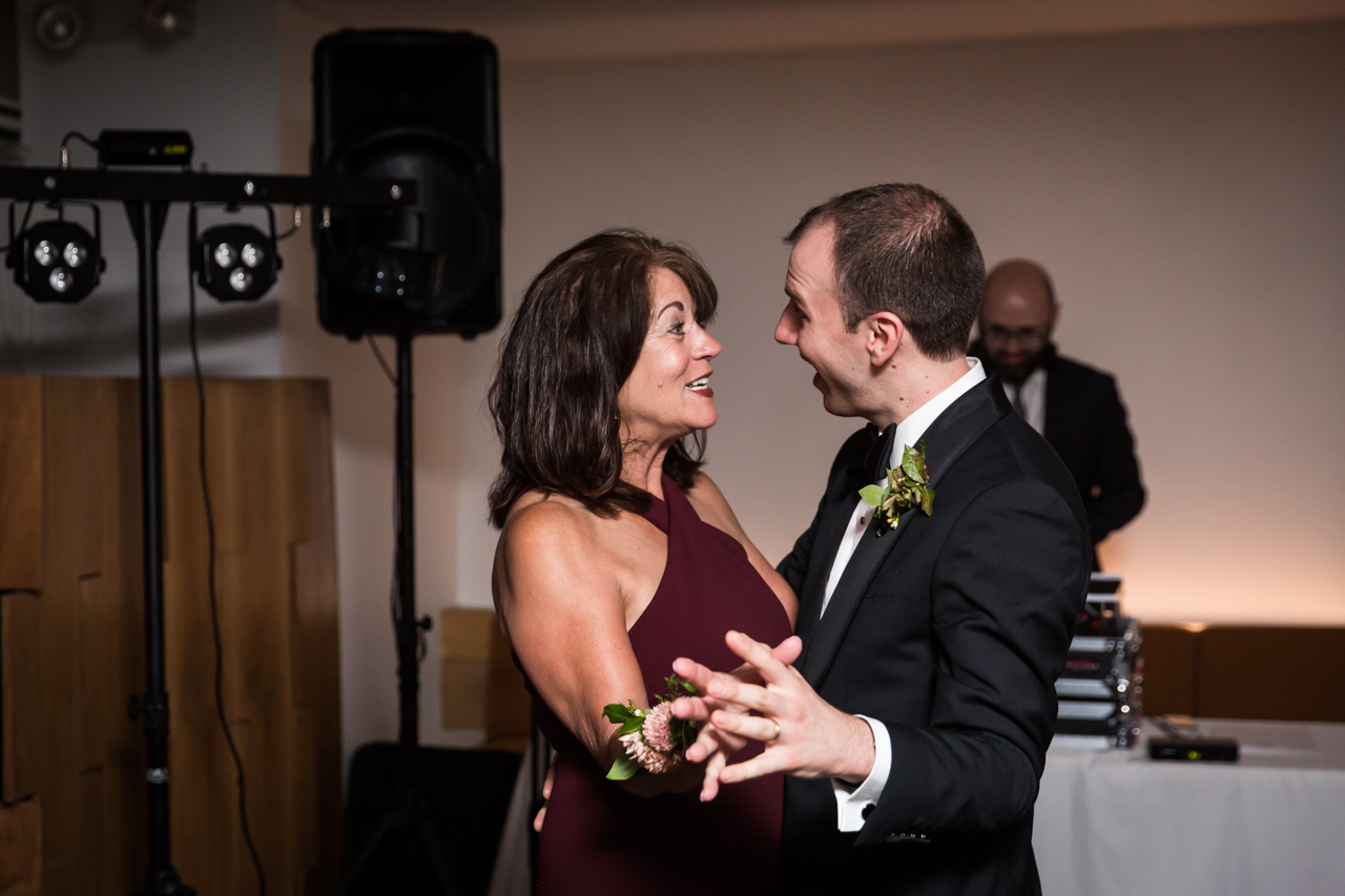 Mother-son dance at a Central Park Conservatory Garden wedding