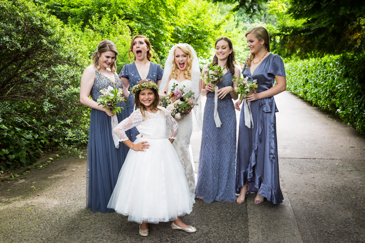 Bride and bridesmaids at a Central Park Conservatory Garden wedding