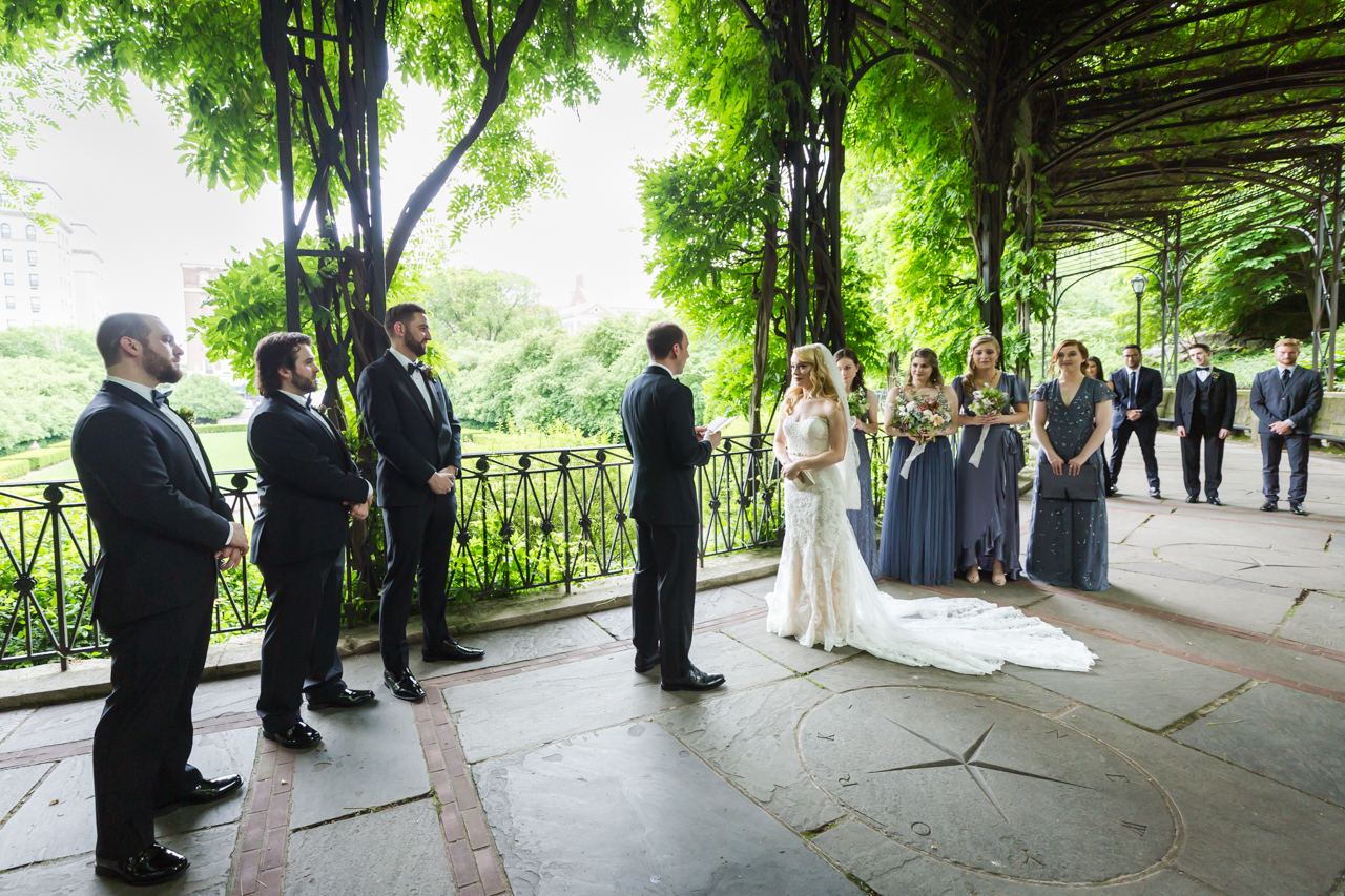 Wisteria pergola ceremony at a Central Park Conservatory Garden wedding