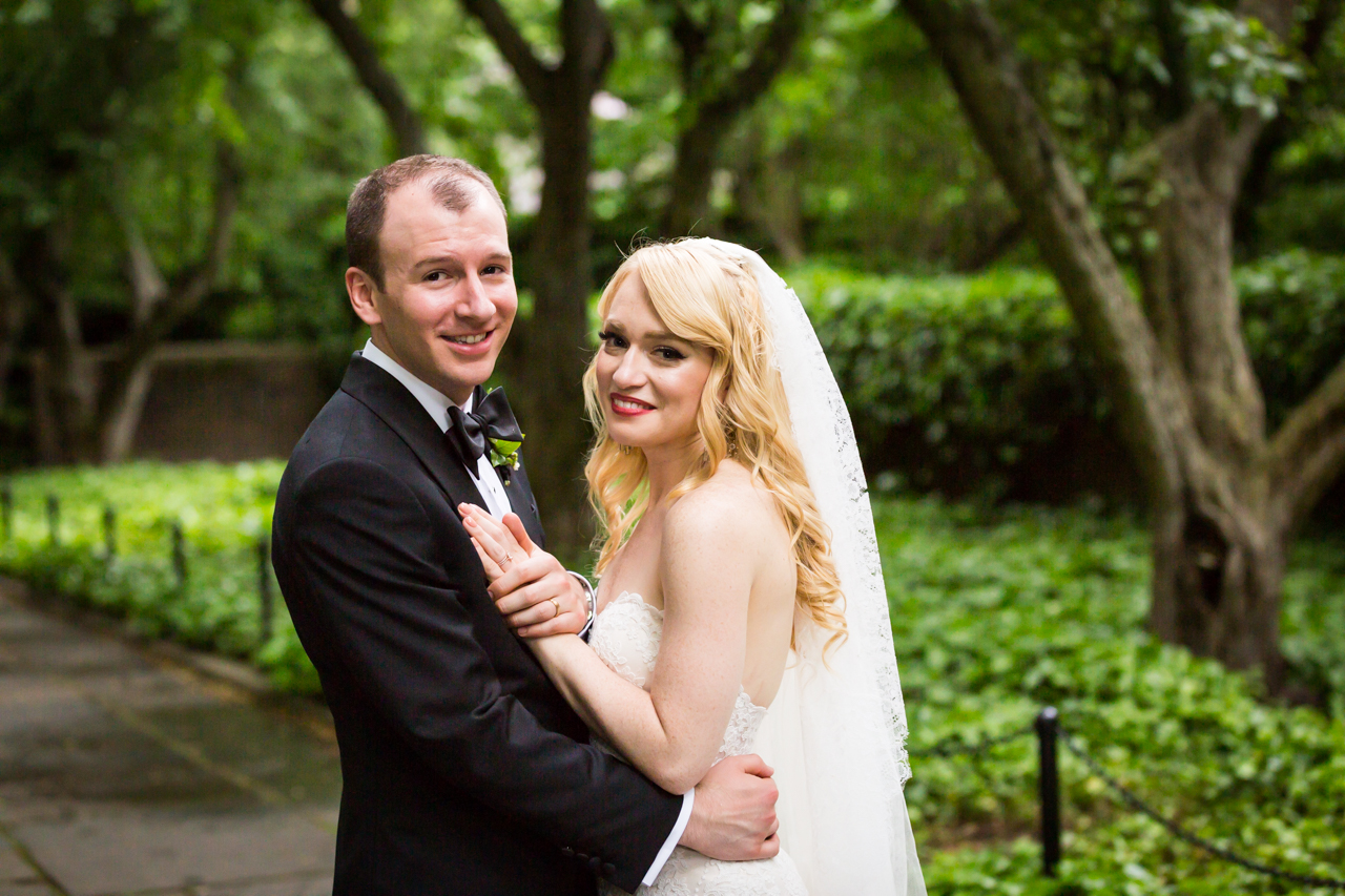 Portrait of bride and groom at a Central Park Conservatory Garden wedding