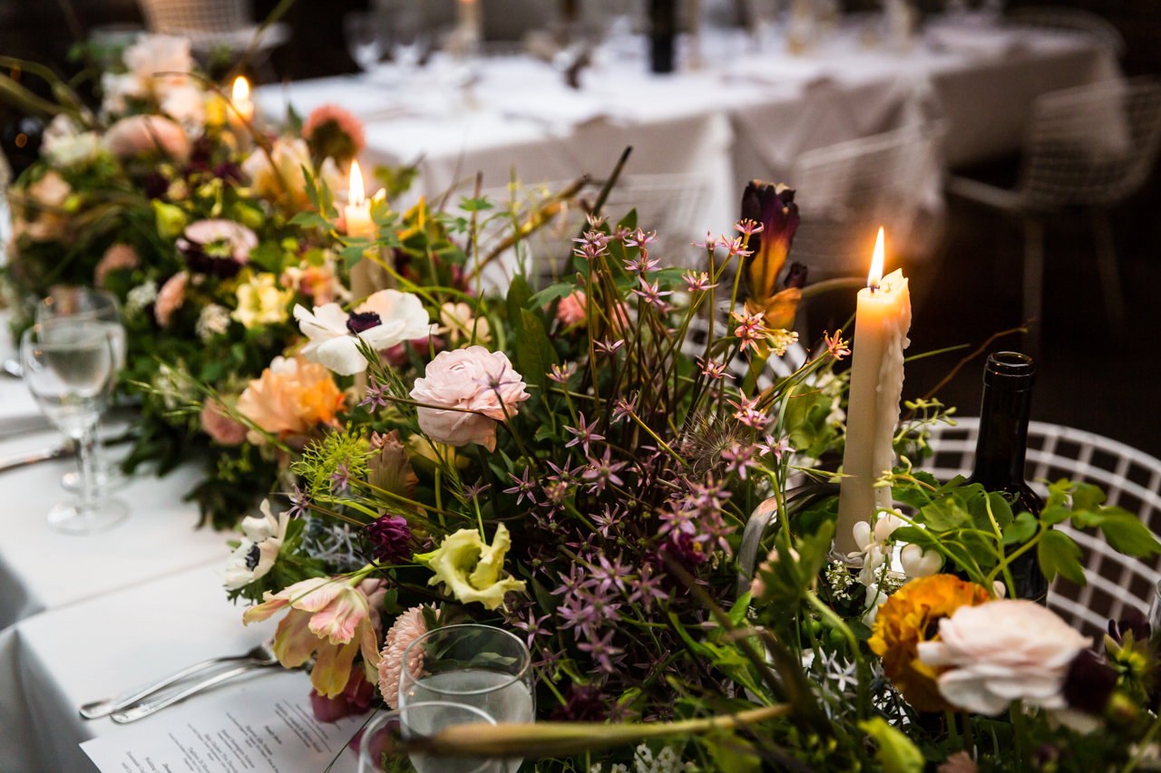 Floral centerpieces at a Central Park Conservatory Garden wedding