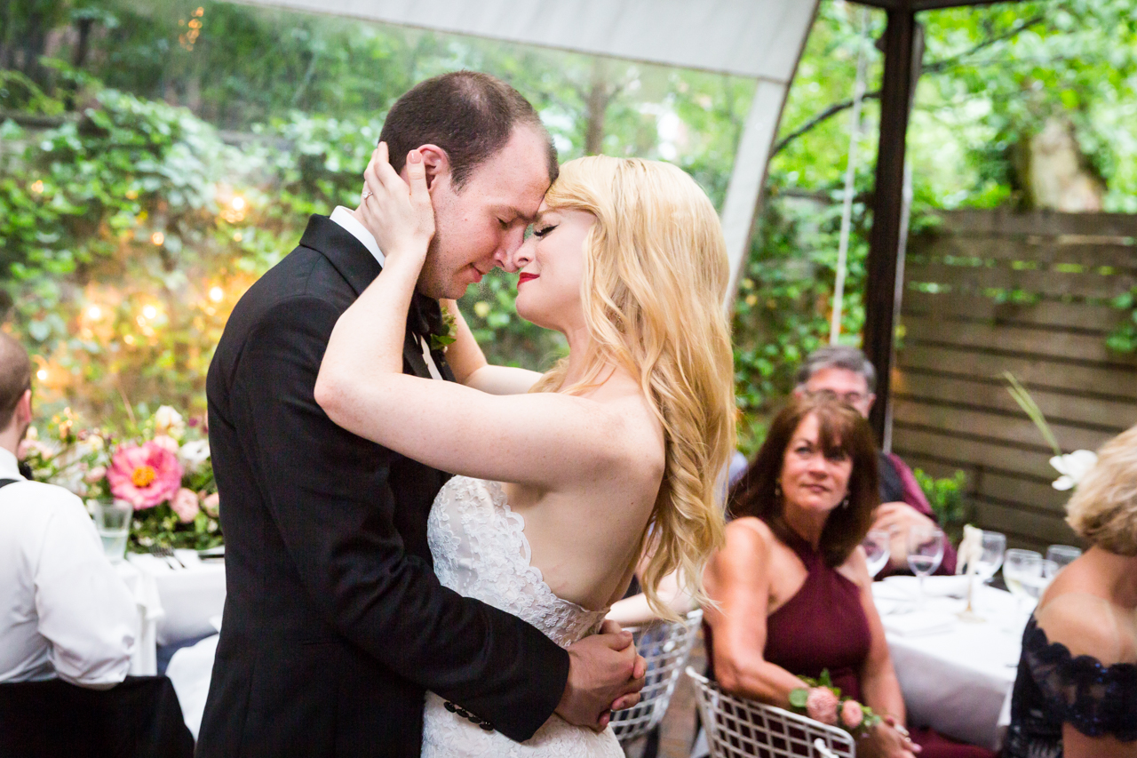 First dance of bride and groom at a Central Park Conservatory Garden wedding