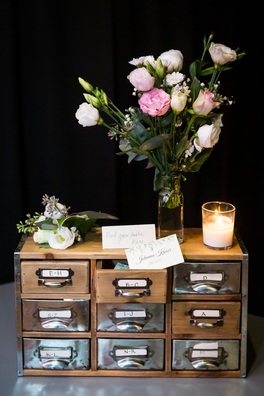 Card catalog drawers for guest escort cards