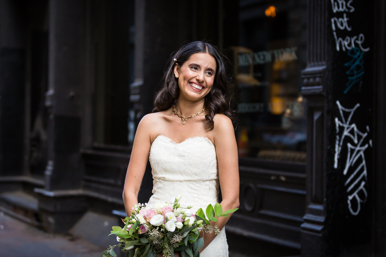 Portrait of smiling bride for an article on non-floral centerpiece ideas