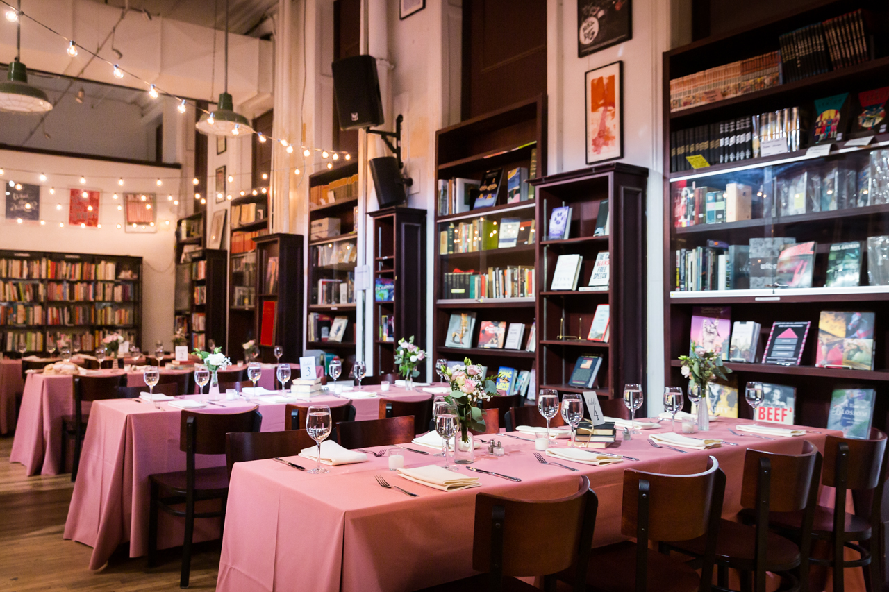 Housing Works Bookstore Cafe wedding reception table settings for an article on non-floral centerpiece ideas