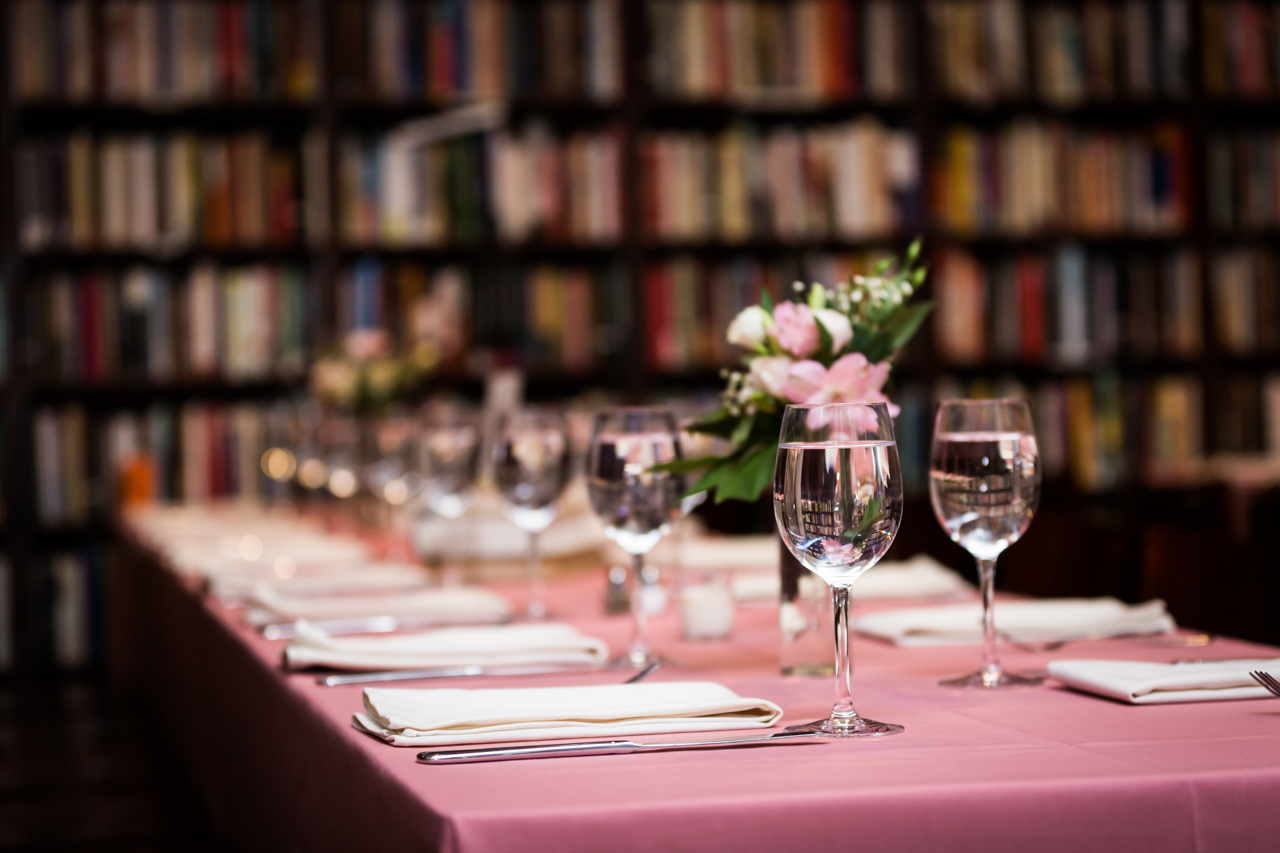 Housing Works Bookstore wedding table setting for an article on non-floral centerpiece ideas