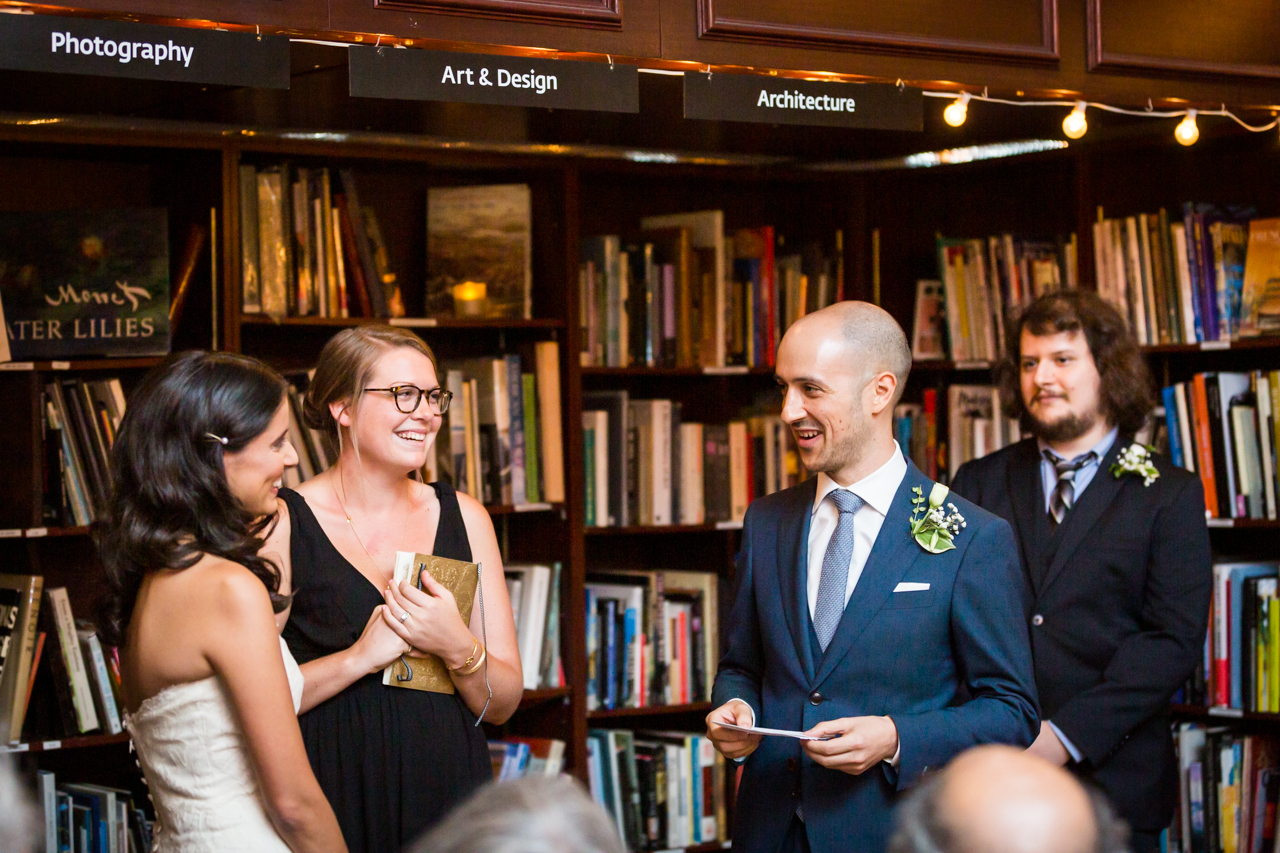 Groom saying vows for an article on non-floral centerpiece ideas