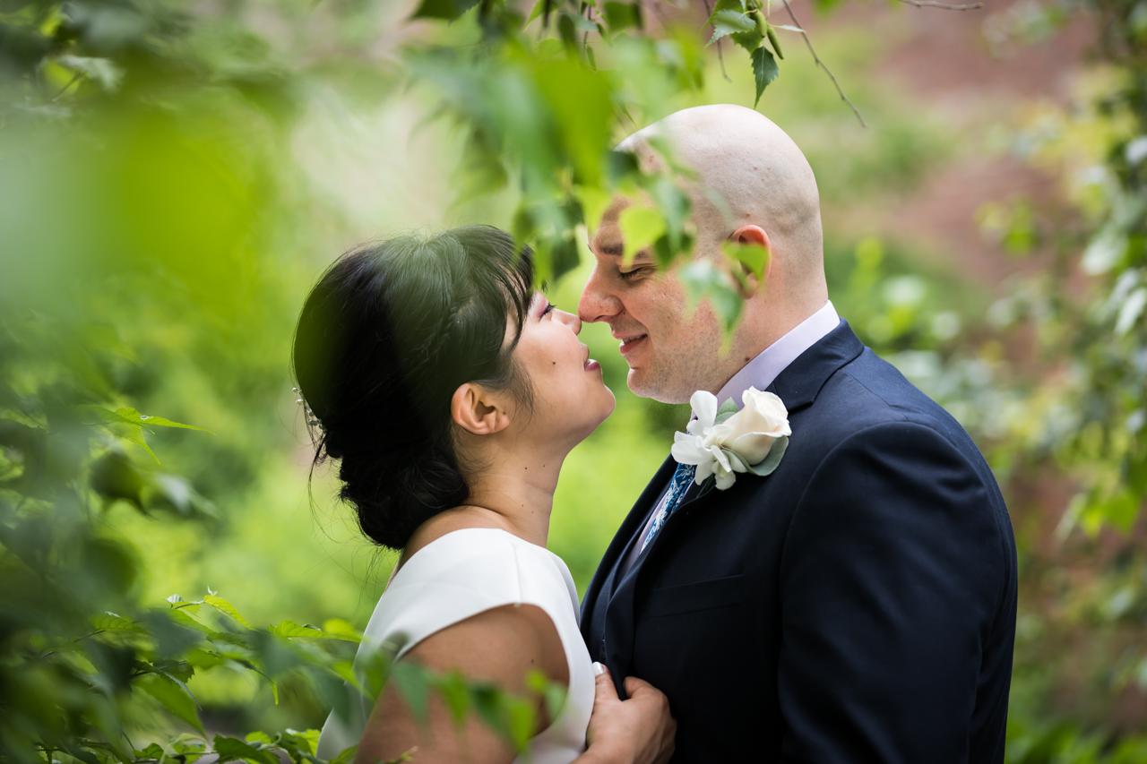 View through leaves of bride and groom about to kiss