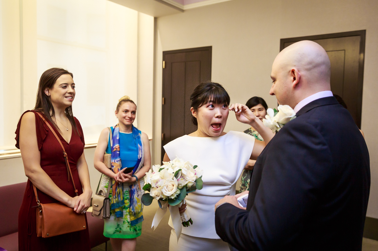 Bride crying after NYC City Hall wedding