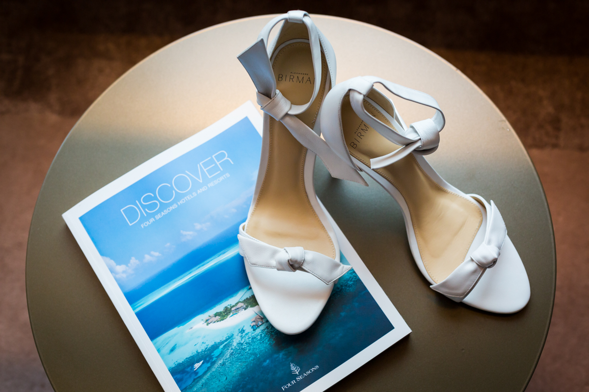 Bride's white sandals by Alexandre Birman
